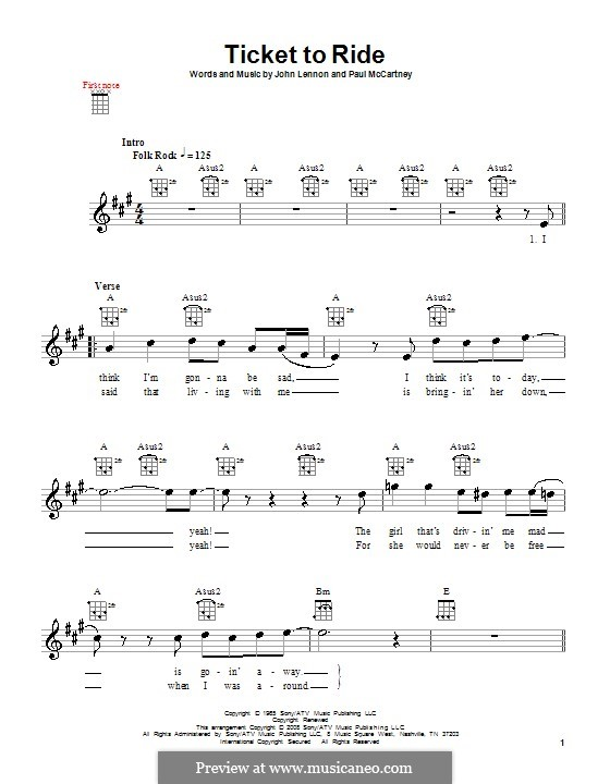 Ticket to Ride (The Beatles): Для укулеле by John Lennon, Paul McCartney