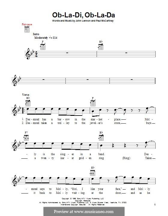 Ob-La-Di, Ob-La-Da (The Beatles): Для укулеле by John Lennon, Paul McCartney