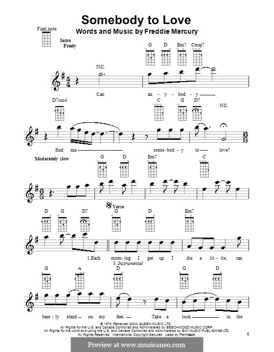 Somebody to Love (Queen): Для укулеле by Freddie Mercury