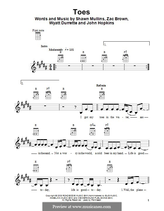 Toes (Zac Brown Band): Для укулеле by John Driskell Hopkins, Shawn Mullins, Wyatt Durrette, Zac Brown