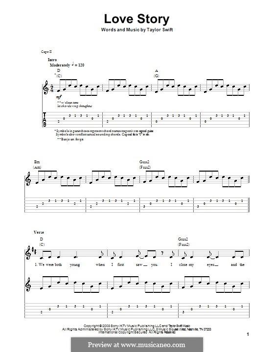 Love Story: Гитарная табулатура by Taylor Swift