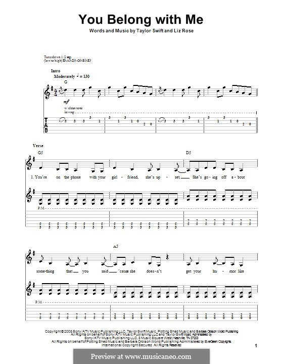 You Belong with Me (Taylor Swift): Гитарная табулатура by Liz Rose