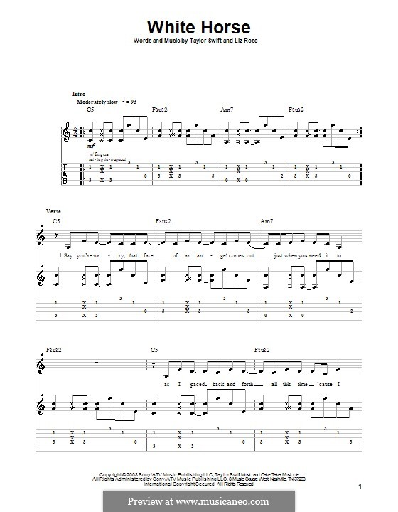White Horse (Taylor Swift): Гитарная табулатура by Liz Rose