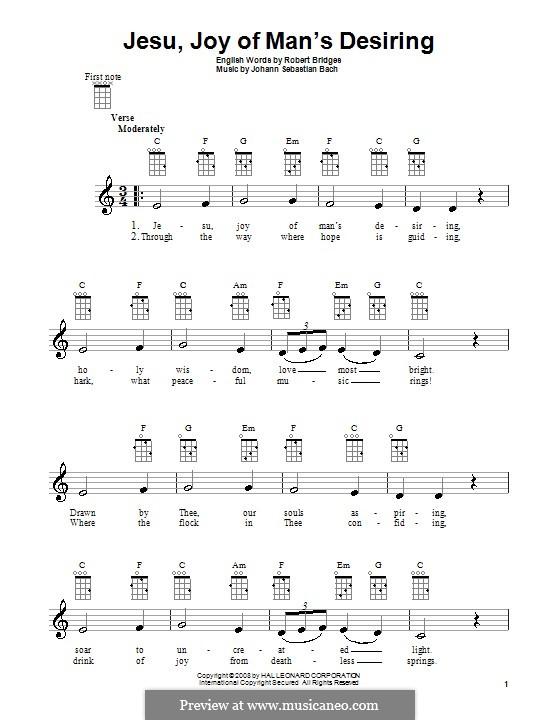 Jesu, Joy of Man's Desiring (Printable Scores): Для укулеле by Иоганн Себастьян Бах