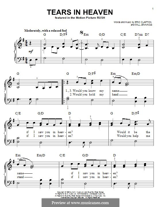 Tears in Heaven: For easy piano with chords by Eric Clapton, Will Jennings