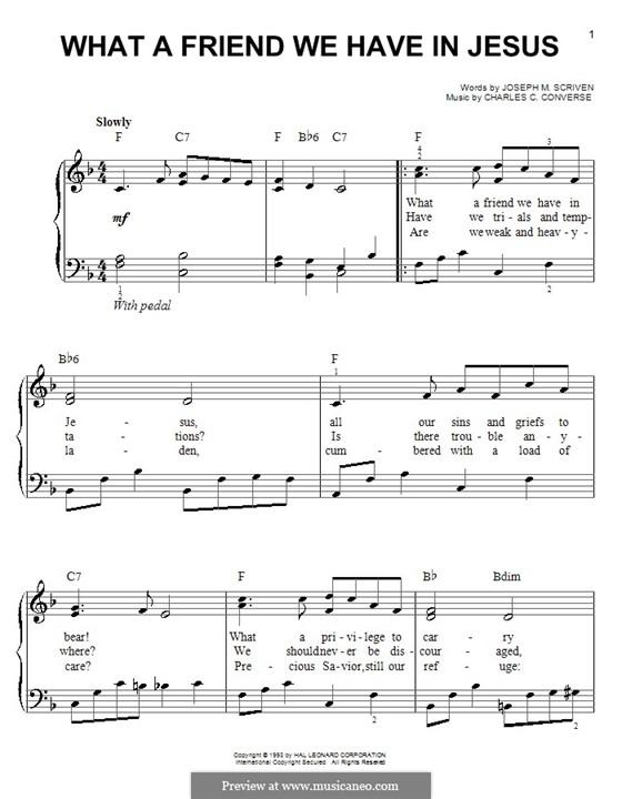 What a Friend We Have in Jesus (Printable): Для фортепиано (легкий уровень) by Charles Crozat Converse