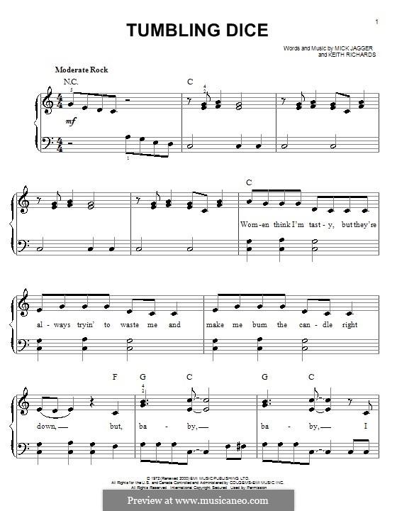 Tumbling Dice (The Rolling Stones): Для фортепиано (легкий уровень) by Keith Richards, Mick Jagger