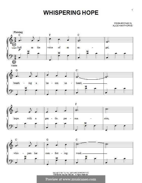 Whispering Hope: Для аккордеона by Septimus Winner