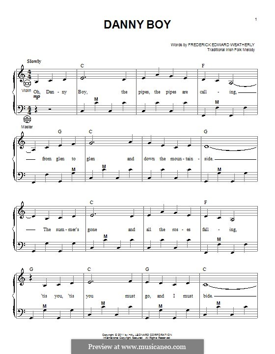 Danny Boy (Londonderry Air) Printable Scores: Для аккордеона by folklore