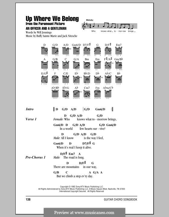 Up Where We Belong (Joe Cocker and Jennifer Warnes): Текст и аккорды by Buffy Sainte-Marie, Jack Nitzsche, Will Jennings