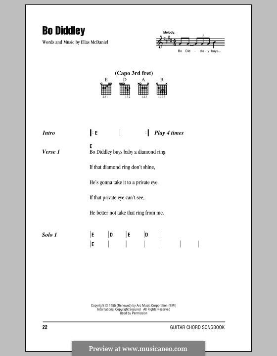 Bo Diddley (Bo Diddley): Текст, аккорды by Ellas McDaniel