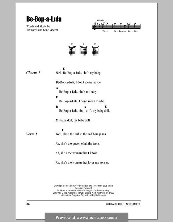 Be-Bop-A-Lula: Текст, аккорды by Gene Vincent, Sheriff Tex Davis