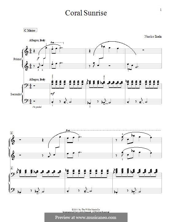 Coral Sunrise: Для фортепиано в четыре руки by Naoko Ikeda