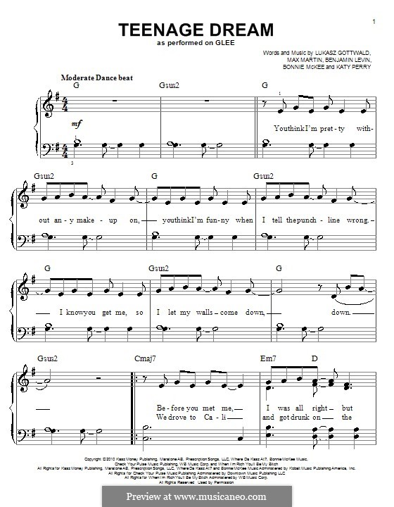Teenage Dream: Для фортепиано (легкий уровень) (Glee Cast) by Benjamin Levin, Bonnie McKee, Katy Perry, Lukas Gottwald, Max Martin