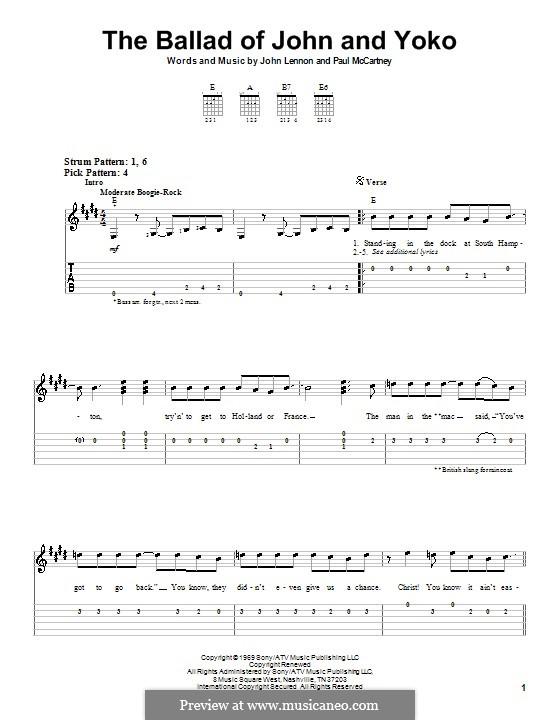 The Ballad of John and Yoko (The Beatles): Для гитары (легкий уровень) с табулатурой by John Lennon, Paul McCartney