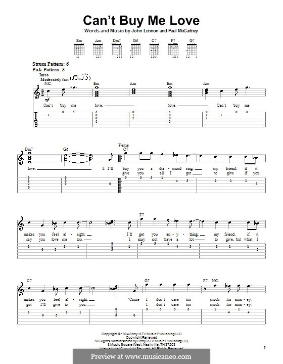 Can't Buy Me Love (The Beatles): Легкая гитарная табулатура by John Lennon, Paul McCartney