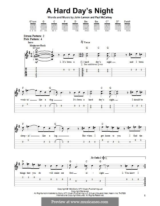 A Hard Day's Night (The Beatles): Для гитары (легкий уровень) by John Lennon, Paul McCartney