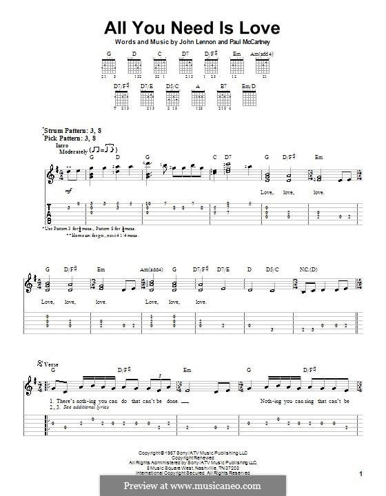 All You Need Is Love (The Beatles): Для гитары (очень легкая версия) by John Lennon, Paul McCartney