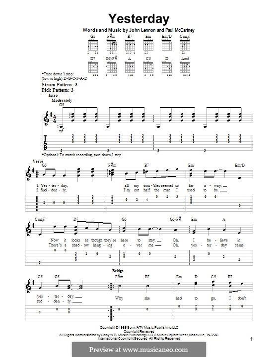 Yesterday (The Beatles): Для гитары (легкий уровень) с табулатурой by John Lennon, Paul McCartney