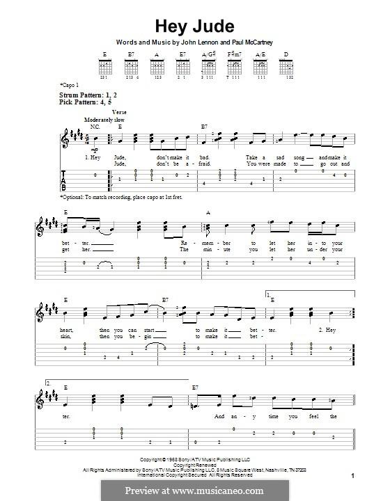 Hey Jude (The Beatles), for One Instrument: Легкая гитарная табулатура by John Lennon, Paul McCartney