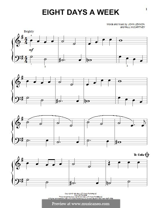 Eight Days a Week (The Beatles): Для фортепиано by John Lennon, Paul McCartney