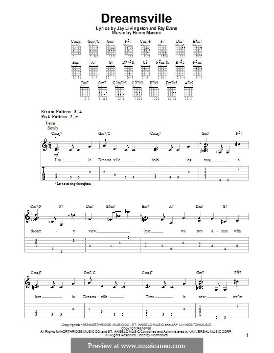 Dreamsville: Для гитары (очень легкая версия) by Henry Mancini