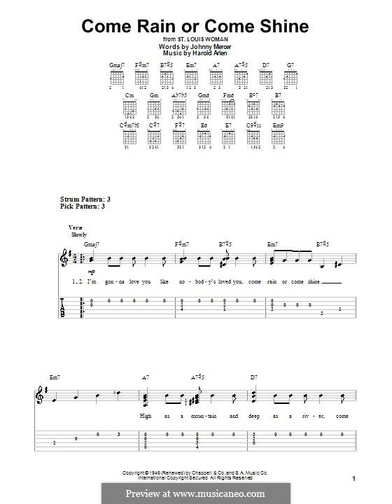 Come Rain or Come Shine: Для гитары (легкий уровень) by Harold Arlen