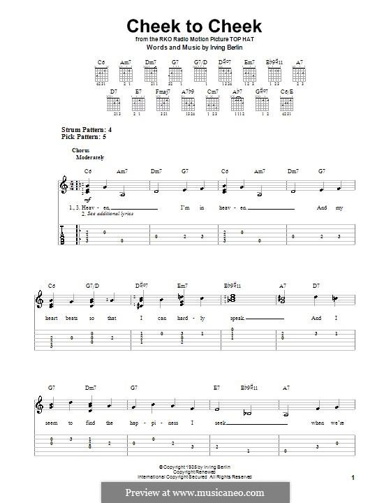 Cheek to Cheek: Для гитары (очень легкая версия) by Ирвинг Берлин