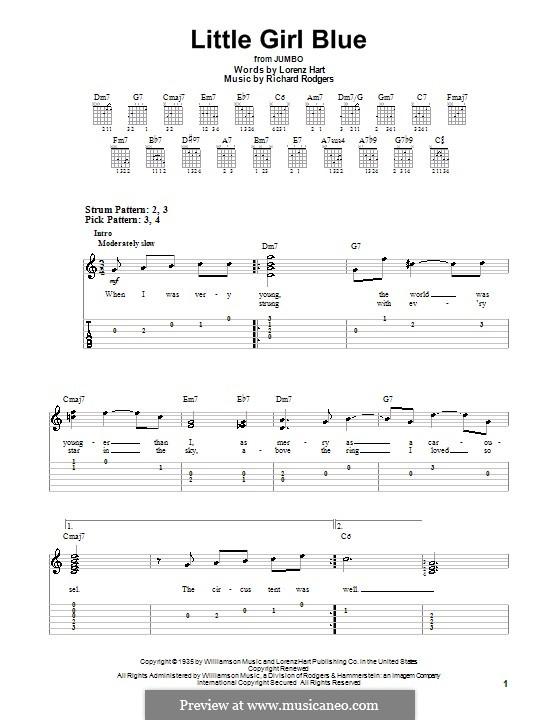 Little Girl Blue: Для гитары (легкий уровень) с табулатурой by Richard Rodgers