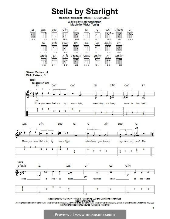 Stella By Starlight: Для гитары (очень легкая версия) by Victor Young