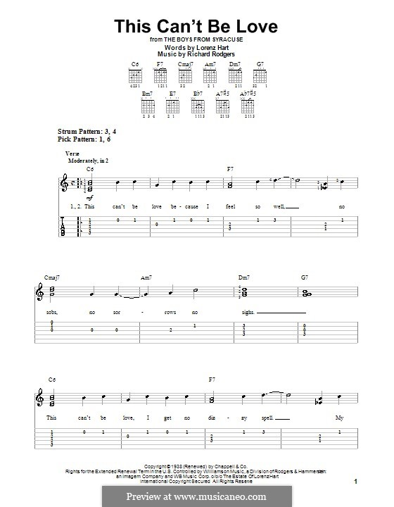 This Can't Be Love: For easy guitar with tab by Richard Rodgers