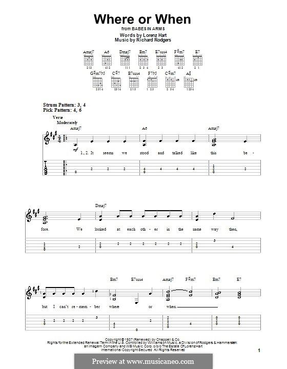 Where or When: Для гитары (легкий уровень) с табулатурой by Richard Rodgers