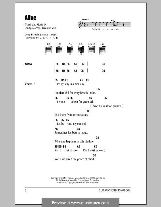 Alive (P.O.D.): Текст, аккорды by Sonny Sandoval, Traa Daniels, Wuv Bernardo, Marcos Curiel
