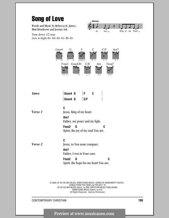 Song of Love: Текст, аккорды by Jeremy Ash, Matt Bronleewe