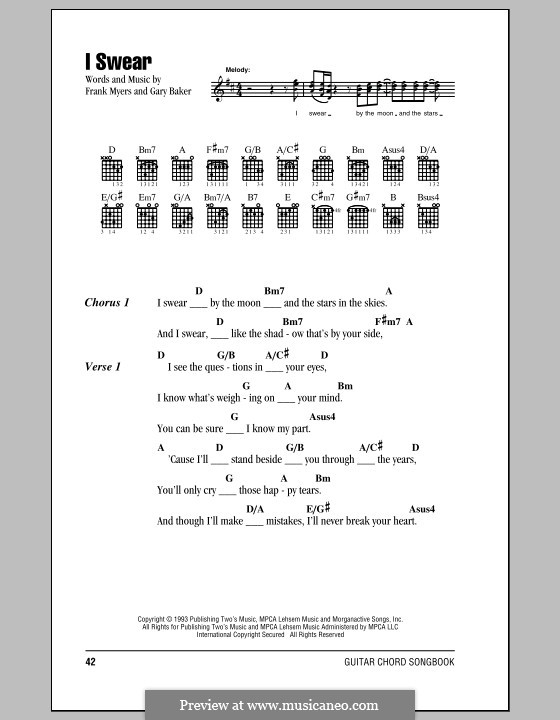 I Swear: Текст, аккорды by Frank J. Myers, Gary Baker
