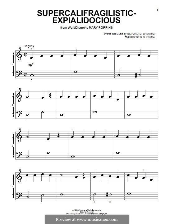 Supercalifragilisticexpialidocious (from Mary Poppins), for Piano: Для одного исполнителя by Richard M. Sherman, Robert B. Sherman