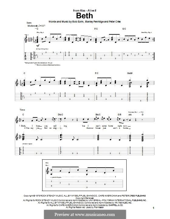 Beth: Гитарная табулатура by Bob Ezrin, Peter Criss, Stan Penridge