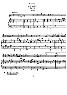 Соната для флейты и бассо континуо до мажор, RV 48: Партитура для двух исполнителей, сольная партия by Антонио Вивальди