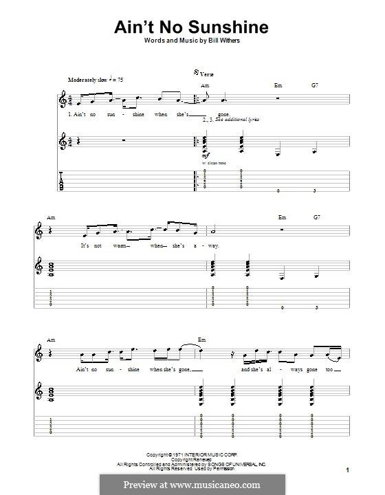 Ain't No Sunshine: Для гитары с табулатурой by Bill Withers