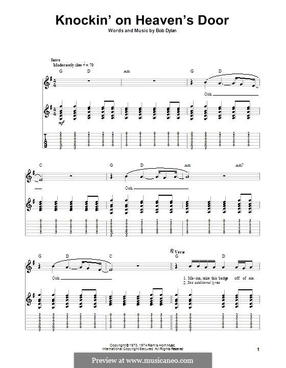 Knockin' on Heaven's Door: Гитарная табулатура by Bob Dylan