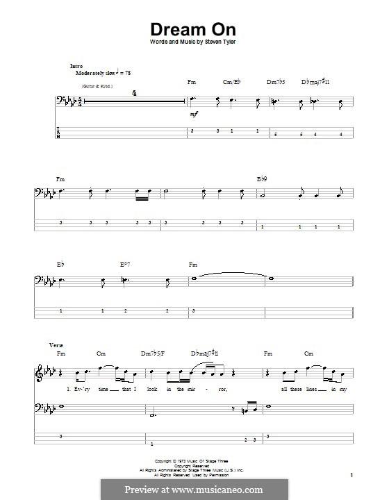 Dream On (Aerosmith): Для бас-гитары с табулатурой by Steven Tyler