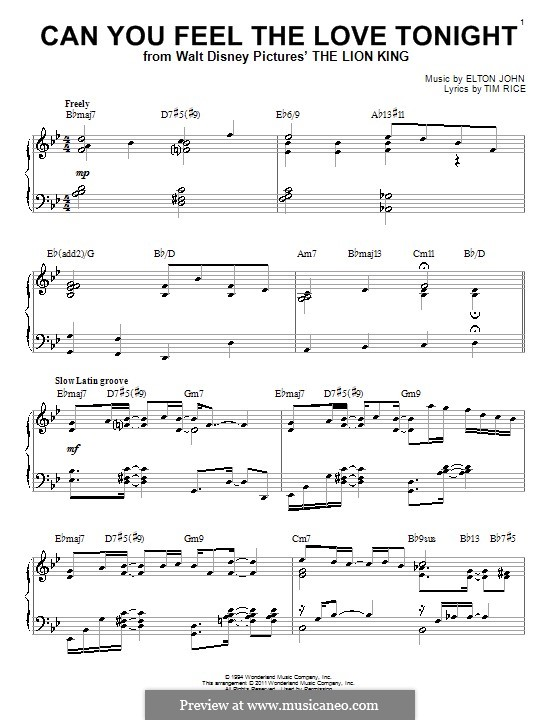Can You Feel the Love Tonight (from The Lion King), for Piano: With chords by Elton John