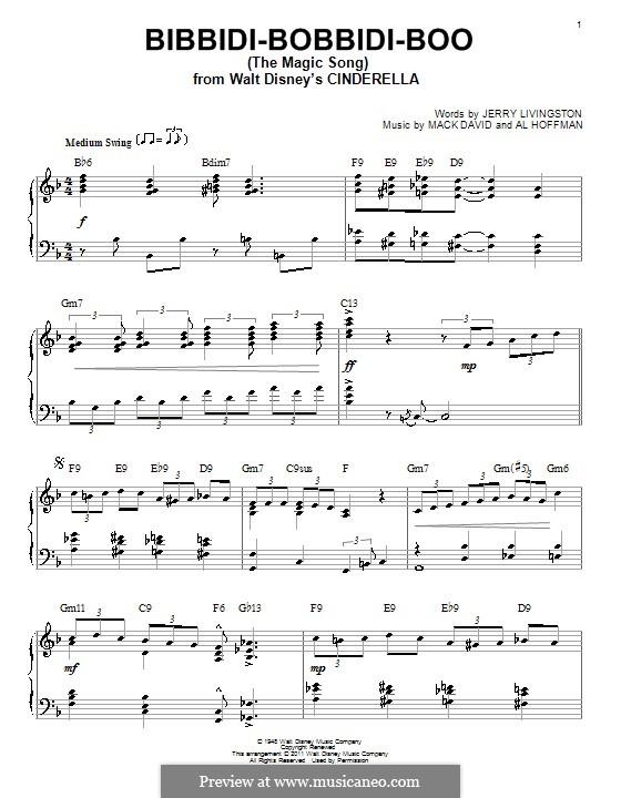 Bibbidi-Bobbidi-Boo (The Magic Song): Для фортепиано by Al Hoffman, Mack David