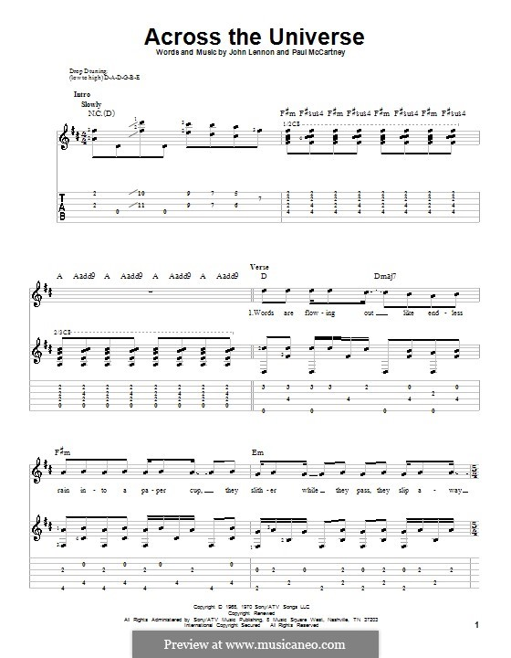 Across the Universe (The Beatles): For guitar with tabulature and lyrics by John Lennon, Paul McCartney