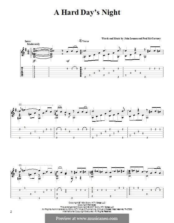 A Hard Day's Night (The Beatles): Для гитары by John Lennon, Paul McCartney