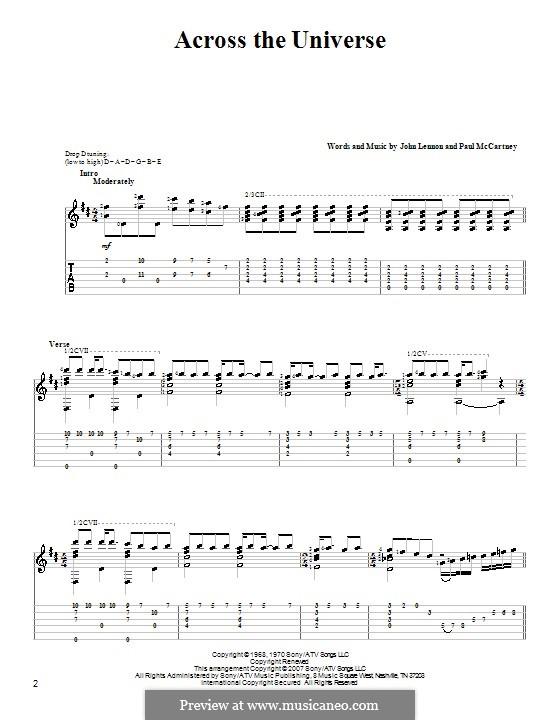 Across the Universe (The Beatles): Гитарная табулатура by John Lennon, Paul McCartney