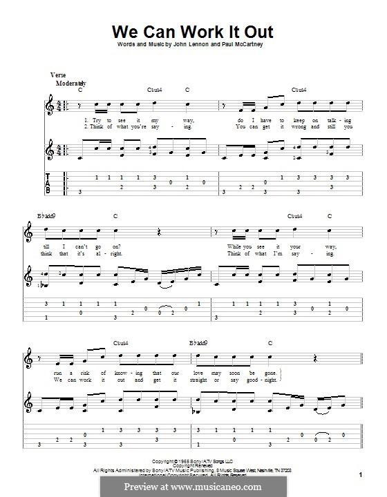 We Can Work it Out (The Beatles): Гитарная табулатура (ноты высокого качества) by John Lennon, Paul McCartney