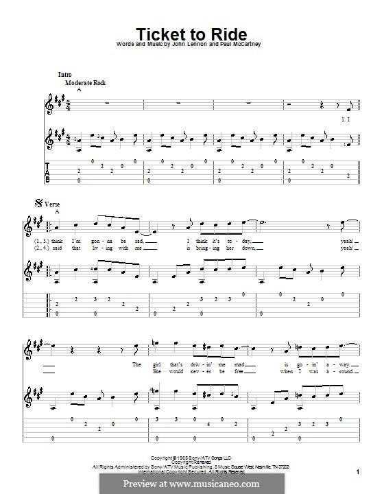 Ticket to Ride (The Beatles): Гитарная табулатура (A Major) by John Lennon, Paul McCartney