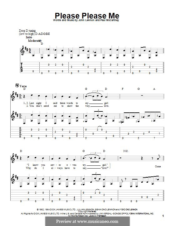 Please Please Me (The Beatles): Для гитары (D Major) by John Lennon, Paul McCartney