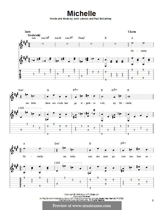 Michelle (The Beatles), for One Instrument: Гитарная табулатура (ноты высокого качества) by John Lennon, Paul McCartney